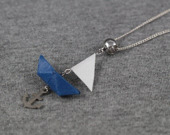 Necklace origami - sailing boat - Origami - Japanese paper