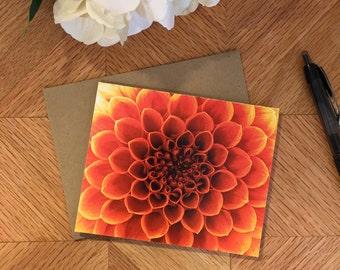 folded notecards, set of 4 with envelopes, orange flower