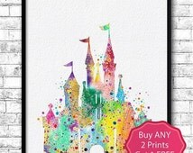 30% OFF Disney Castle Watercolor Print, Disney painting,Disney art, Disney Castle print, Nursery art, Giclee wall print, Children's birthday