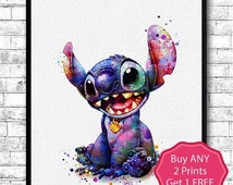 30% OFF Stitch 2 Watercolor Art Print OHANA FAMILY Poster Lilo and Stitch Children's Nursery Art Print Wall Poster Wall Decor Wall Hanging