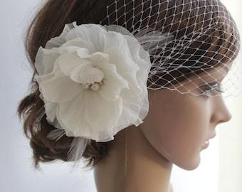 Wedding Veil Headpiece, White Birdcage Veil, Ivory Flower Fascinator- Wedding Headpiece-Available in Ivory or White