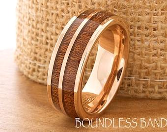 hawaiian koa wood inlay ring rose gold tungsten ring wood wedding band dome wedding ring promise