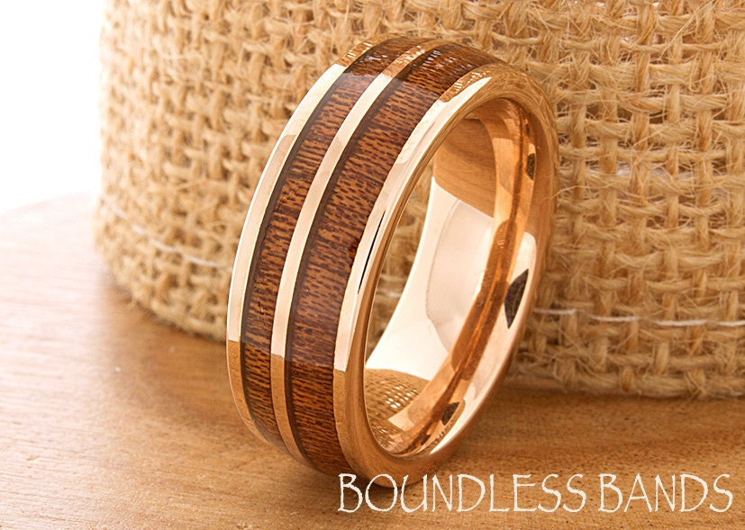 wood inlay rose gold tungsten ring wood wedding by