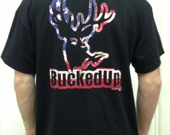 Bucked Up Men's Short Sleeve Black/American Logo