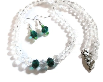 Crystal and Emeral Necklace and Earring Set
