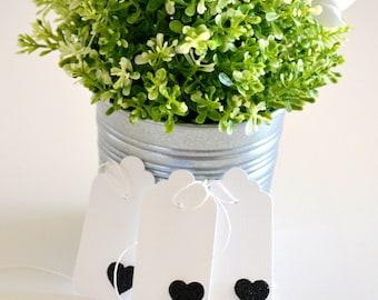 Wedding Favor Tags - Glitter Heart Tags 10 Pk - Gift Tags - Black Wedding Tags - Bridal Shower Tags - Wedding Bonboniere Tags - WEDF021