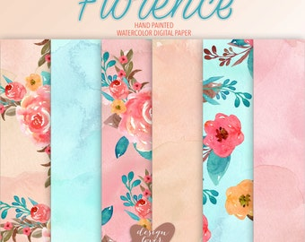 "Watercolor ""Florence"" Romantic Bouchet digital paper, watercolor background, digital paper Clipart,  Wedding invitation, scrapbooking"