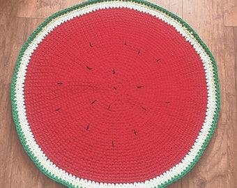 Rug red rug watermelon Crochet Rug - Babyroom Round Rug - Cotton Rag Rug - Children Crochet Rug - Knit Rug, Vintage Rug watermelon Rug