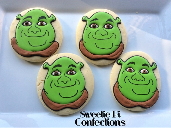 Shrek decorated cookies party favors birthday party - Biscuit shrek ...