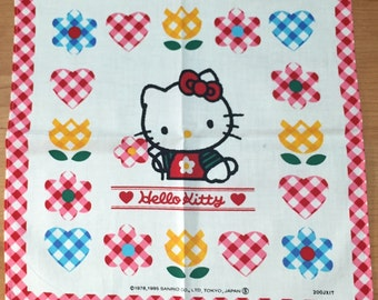 Vintage child's Handkerchief 1995 Sanrio Hello Kitty Made in Japan