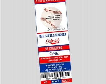 Baseball Party Ticket Invitations, Baseball Birthday Ticket Invitations - Digital File Only (Printed invitations Available)