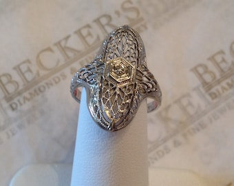 Vintage 14k white gold filigree & Single Diamond Shield Ring size 6 Etched Chevron Sides