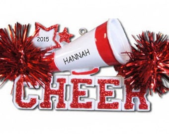 Personalized Cheerleader Christmas Ornament - Red
