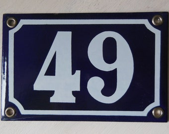 Vintage French enamel HOUSE NUMBER SIGN 49