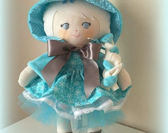 Rag Doll 45cm tall, Handmade CE marked fabric cloth dress up doll,Reversible Cape, two skirts