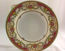 "Vintage Very Ornate Floral and Garlands "" Kenora "" Mintons RARE Burgundy Bowls, China Soup Bowls"