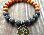 Stackable Mala Inspired Essential Oils Diffuser Lava Bead, Redwood + Om Yoga and Meditation Bracelet