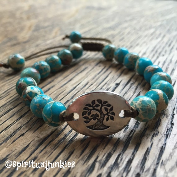 "Adjustable Stackable Mala Inspired Teal Impression Jasper + ""Tree of Life"" Yoga and Meditation Bracelet"