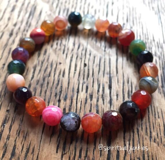Stackable Mala Inspired Faceted Multicolored Rainbow Agate Spiritual Junkies Yoga and Meditation Bracelet (single bracelet)