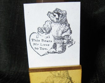 Vintage This Bears My Love to You Rubber Stamp Teddy Bear