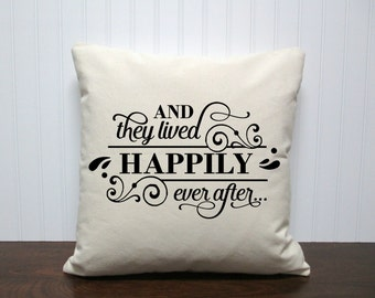 They Lived Happily Ever After Pillow.  Custom pillow. Wedding Gift Pillow. Pillow Cover. Personalized Gift.Zipper enclosure
