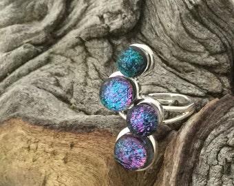 Handmade Dichroic Glass ZigZag Ring