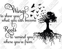 Wings and Roots Quote Vinyl Decal Digital Cutting File in Svg, Dxf, Eps, and Jpeg Format for Cricut and Silhouette Software