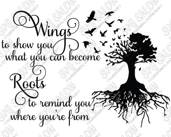 Svg Wings And Roots Quote Vinyl Decal Digital Cutting By