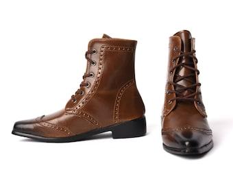 SD_Brown Wingtip Boots