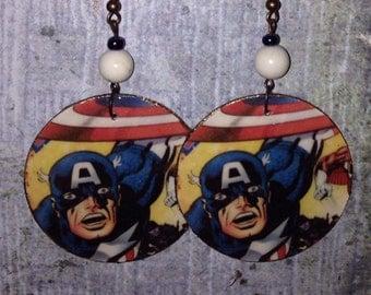 Up-cycled Captain America Earrings, cereal box earrings, decoupage comic earrings, Marvel