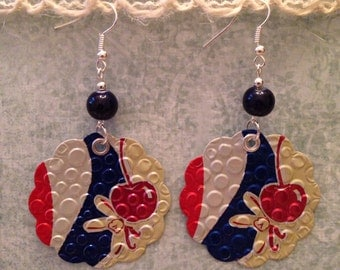 Up-cycled Pepsi Earrings, pop can earrings, recycled soda can jewelry