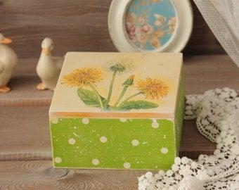 Jewelry Box Wood Storage Box Shabby chic Wood Box Trinket Box Keepsake Box Treasury Box Wood Box with Cover Dandelion Polka Dots Container
