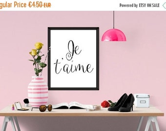 BIG SUMMER SALE - 45% off Je Taime Print, love Typography Poster, Instant Download, Scandinavian Print, Love Poster, Typography Home Decor i