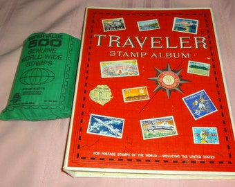 1979 Traveler Stamp Album 100's of Stamps. Plus 500 Mixed Stamp Bag + 1 Mint Plate Block Plus 2 First Day Covers