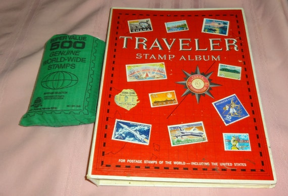 1979 Traveler Stamp Album 100's of Stamps. Plus 500 Mixed Stamp Bag
