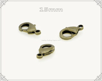 20 pc.+  15mm Solid Brass Lobster Claw Clasp - Antique Brass