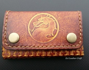 Leather business card wallet, holder, card organiser, handmade, hand stitched, brown leather case, Embossed dragon