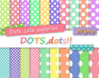 20 Digital COLORFUL BIG and small dots assorted digital papers,20 jpeg files,digital scrapbooking,colorful paper,happy colours,pastel colour