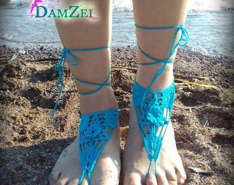turquoise Barefoot Sandal, Crocheted flower Anklet, White Barefoot Sandal, Lace Barefoot Sandal, Wedding, Barefoot Anklet, Foot Jewelry