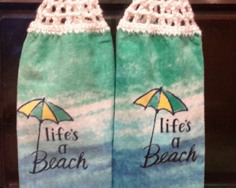 Hanging Kitchen towels  with Crocheted Top- Set of 2 /lib