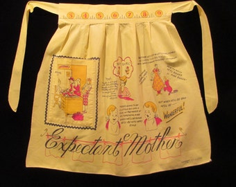 Vintage 1950's Expectant Mother Yellow Half Apron
