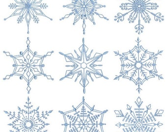 Snowflakes Too 14 Different Redwork Machine Embroidery Designs 4x4 5x7 6x10 8x8