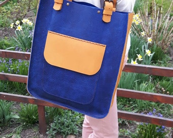 Blue Leather Tote Bag.Yellow Tote bag