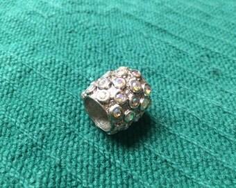 Vintage Silvertone and Rhinestone Design Ring, Size Kids - Small