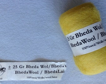 Bheda wool roving 25gram Yellow for wet felting or needle felting