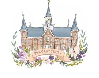 Provo City Center Temple, Latter Day Saint, flower wreath design, printable art, FHE, Mormon decoration