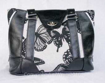 Butterfly Avenue, Elegant, black leather handbag