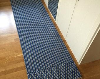 Floor Runner Rug. Hallway Rug. Handmade On Loom. Natural Jute And Deep Blue
