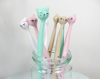 Cat Pens, SPECIAL OFFER, Cat Stationery, Writing Pen, Black Ink, Cats, Gel Pen, Gift for Cat Lover, Pastel Pen