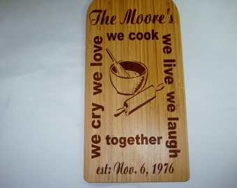 Bamboo Paddle Cutting Board Custom Laser Engraved W/ Your Recipe  or Logo Kitchen Accessories Two Toned